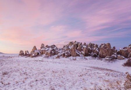 Photo pour Fort naturel, point de repère historique et géologique à l'aube, nord du Colorado près de Carr - image libre de droit