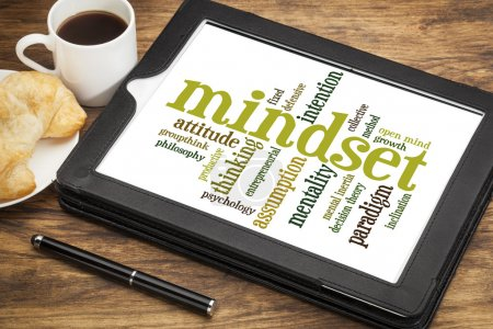 Photo for Mindset word cloud on a digital tablet with a cup of tea - Royalty Free Image