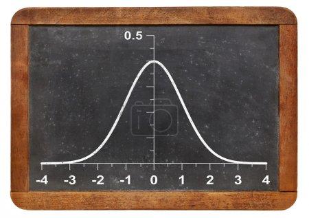 Foto de L en una pizarra vintage - concepto estadístico la función gráfica de Gauss (campana) - Imagen libre de derechos