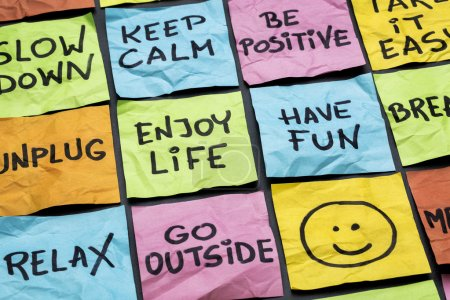 Photo for Relax, keep calm, enjoy life and other motivational lifestyle reminders on colorful sticky notes - Royalty Free Image