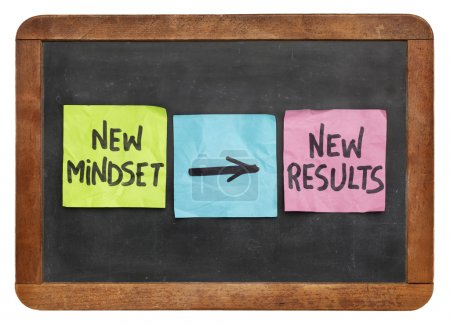 Photo for New mindset and new results  concept - colorful sticky notes on a vintage slate blackboard  isolated on white - Royalty Free Image