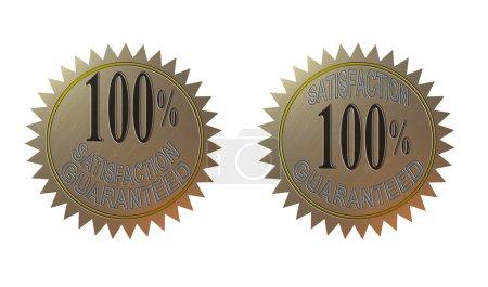 Photo pour Illustration d'un métal d'or scellé avec des mots 100 pour cent de satisfaction garanti fait dans un style rétro . - image libre de droit