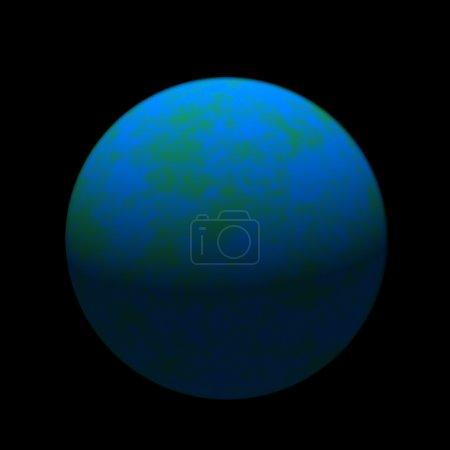 Photo pour Illustration d'une planète bleue sans effet coriolis sur fond noir réalisé dans un style rétro . - image libre de droit