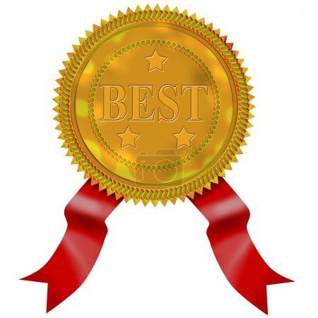 Photo pour Illustration d'un sceau en or avec un ruban rouge et Best dessus . - image libre de droit