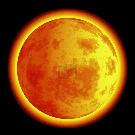 Photo pour Illustration d'un coucher de soleil en fond noir réalisé dans un style rétro . - image libre de droit