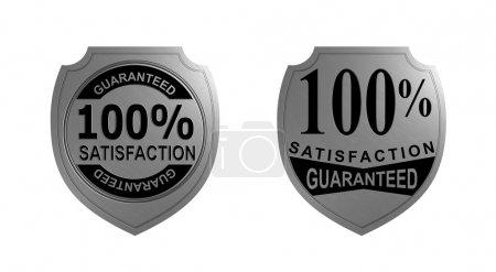 Photo pour Illustration d'un joint métal argenté avec des mots 100 pour cent de satisfaction garanti fait dans un style rétro . - image libre de droit