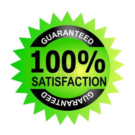 Photo pour Illustration d'une icône avec des mots 100 pour cent de satisfaction garantie à l'intérieur d'un cercle vert fait dans un style rétro . - image libre de droit