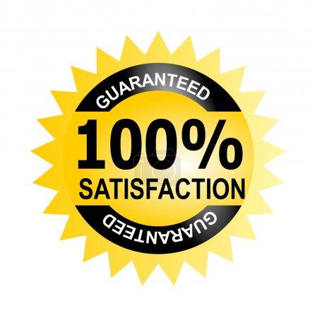 Photo pour Illustration d'une icône avec une satisfaction de 100 % de mots garantie à l'intérieur d'un cercle jaune fait dans un style rétro. - image libre de droit