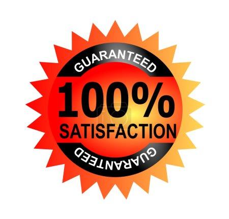 Photo pour Illustration du rond rouge joint wiith mots 100 satisfaction garantie faits dans un style rétro. - image libre de droit