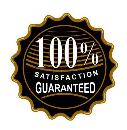 Photo pour Illustration de cachet noir rond wiith mots 100 % satisfaction garantie fait en style rétro. - image libre de droit