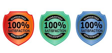 Photo pour Illustration d'un sceau métal orange, vert, bleu avec des mots 100 pour cent Satisfaction garantie fait dans un style rétro . - image libre de droit