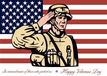 Photo pour Salutation illustration de carte affiche montrant un soldat américain réparateur saluant avec étoiles et drapeau de rayures en fond heureux jour des anciens combattants en souvenir de ceux qui nous protègent. - image libre de droit