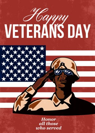 Photo pour Salutation illustration de carte affiche montrant un soldat afro-américain réparateur saluant avec stars et stripes drapeau en l'honneur d'anciens combattants jour heureux fond ceux qui ont servi. - image libre de droit