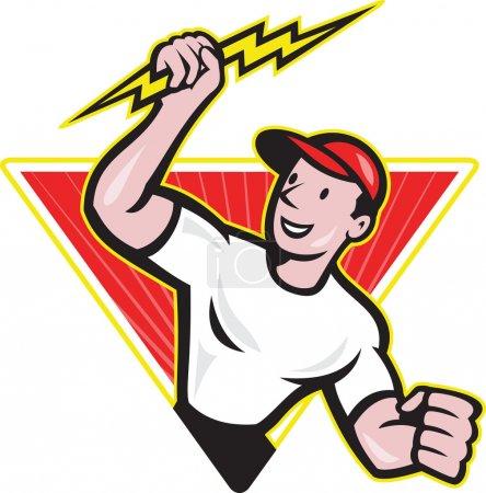 Illustration pour Illustration d'un ouvrier de la construction électricien tenant un éclair fixé à l'intérieur du triangle fait dans le style de dessin animé en arrière-plan blanc isolé . - image libre de droit