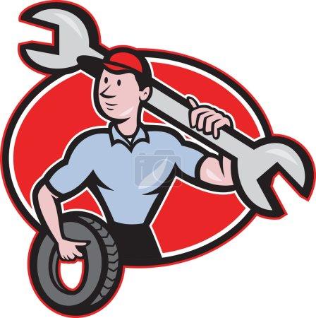 Illustration pour Illustration d'un mécanicien avec clé à molette debout vue de face tenant pneu mis à l'intérieur ovale sur fond blanc isolé fait dans le style dessin animé - image libre de droit