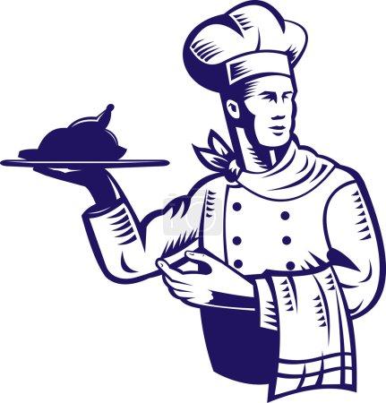 Illustration pour Illustration d'un chef cuisinier fait dans un style rétro gravé sur bois tenant plateau de service avec poulet rôti et serviette d'autre part - image libre de droit