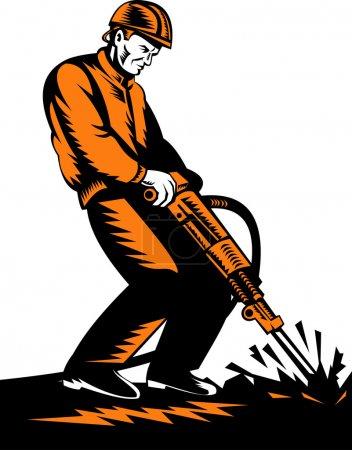Illustration pour Illustration d'un ouvrier de la construction au travail avec marteau-piqueur fait dans un style rétro - image libre de droit