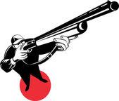 hunter aiming shotgun rifle gun