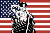 American revolution soldier or general at helm of boat
