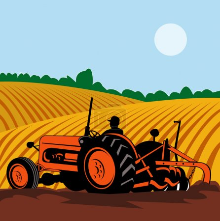 Illustration for Illustration of a vintage tractor with farmer driving in farm field done in retro style - Royalty Free Image