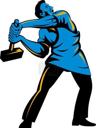 Illustration pour Illustration d'un travailleur au travail avec un marteau fait dans un style rétro - image libre de droit