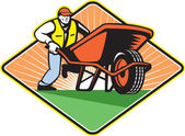 Gardener Pushing Wheelbarrow Retro