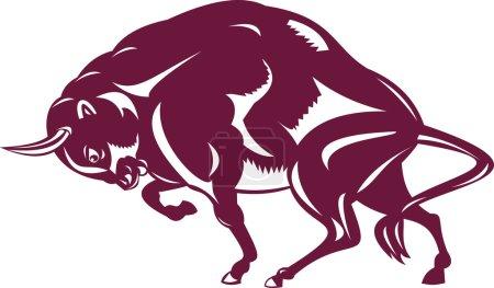 Illustration pour Illustration de bisons dans un style rétro . - image libre de droit