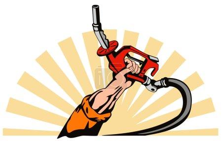 Illustration pour Illustration d'une main tenant une buse de station de pompe à essence à essence faite dans un style rétro . - image libre de droit