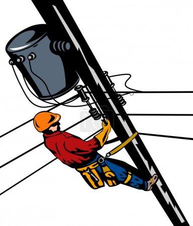 Illustration pour Illustration d'un réparateur téléphonique de ligne électrique réparateur de câble d'alimentation fait dans le style rétro . - image libre de droit