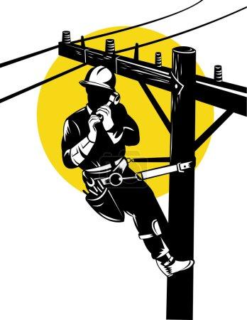 Illustration pour Illustration d'un réparateur téléphonique de ligne électrique réparateur de câble d'alimentation et sur le téléphone, fait dans le style rétro . - image libre de droit