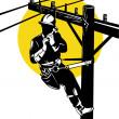 Постер, плакат: Power Lineman on Phone