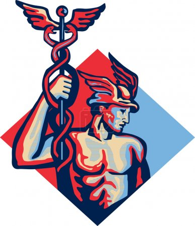 Illustration of Roman god Mercury patron god of fi...