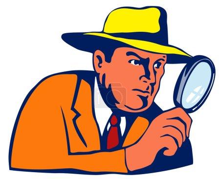 Illustration pour Illustration de détective avec loupe isolée sur fond blanc réalisée dans un style rétro. - image libre de droit