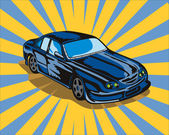 Illustration of blue Ford GT car done in retro style