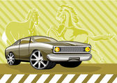Illustration of green ford fairmont car with horses background done in retro style