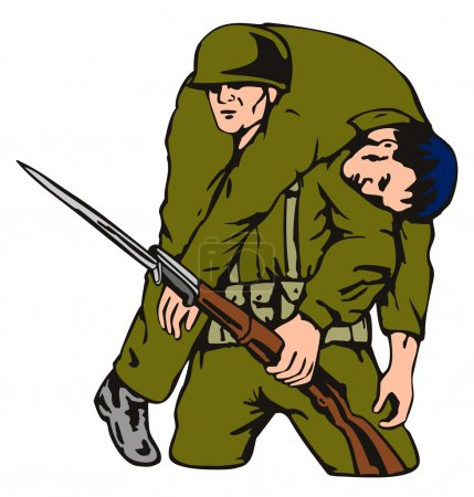 Illustration of soldier with gun carrying wounded ...