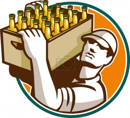 Illustration pour Illustration de style rétro d'un barman portant un étui de bière regardant vers le haut placé à l'intérieur du cercle sur fond blanc isolé . - image libre de droit