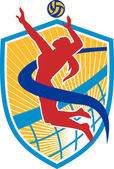 Illustration of a volleyball player spiker spiking hitting ball set inside crest shield with net done in retro style