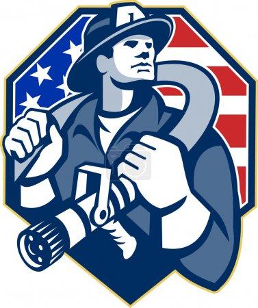 American Fireman Fire-fighter Fire Hose Retro