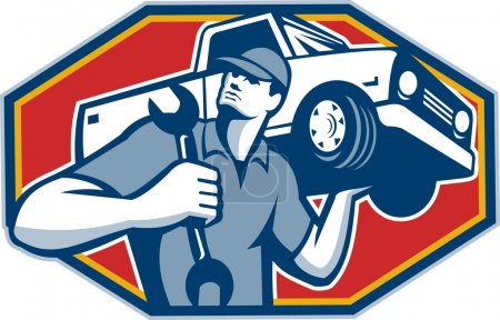 Illustration for Illustration of an automotive mechanic carrying pick-up truck car vehicle on shoulder holding spanner wrench done in retro style. - Royalty Free Image