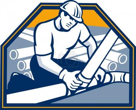 Illustration pour Illustration d'un ouvrier de la construction d'un constructeur de drain portant un casque rigide reliant la pose tuyau de drainage fixé à l'intérieur du bouclier fait dans un style rétro . - image libre de droit
