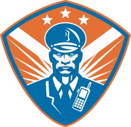 Illustration pour Illustration d'un policier afro-américain gardien de sécurité policier placé à l'intérieur de la crête du bouclier avec des étoiles faites dans un style rétro . - image libre de droit