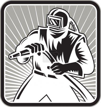 Illustration pour Illustration d'un sableur sablonneux tenant un tuyau de sablage portant une visière de casque placée à l'intérieur d'une forme carrée réalisée dans un style de gravure sur bois rétro . - image libre de droit