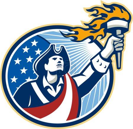 American Patriot Holding Torch Stars Stripes Flag