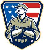 """Постер, картина, фотообои """"Американский солдат сложить оружие флаг ретро"""""""