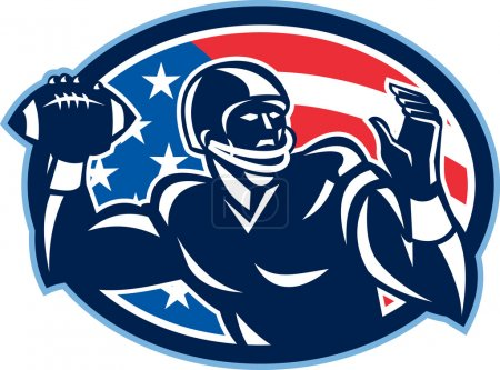 Illustration for Illustration of an american football gridiron quarterback QB player throwing ball facing side set inside oval with USA stars and stripes flag done in retro style. - Royalty Free Image