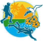 Illustration of a hiker hiking and scuba diver div