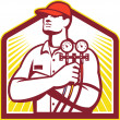 Illustration of a heating and cooling technician o...