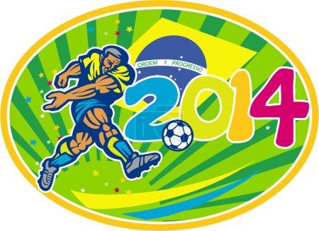 Brazil 2014 Soccer Football Player Kicking Ball