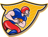 Illustration of an american football gridiron running back player running rushing with ball facing side set inside shield crest done in cartoon style